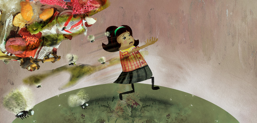 A girl running away from a cloud of waste