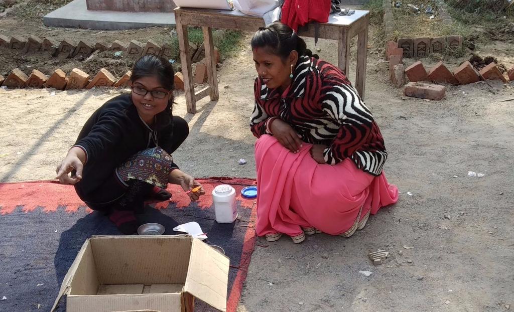 Anjali with school teacher